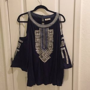 Gorgeous Navy Cold Shoulder Embroider Detail Top